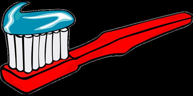 kreslený kartáček s pastou